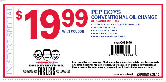 pep boys oil change coupon